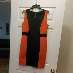 Coral and Black Pencil Dress